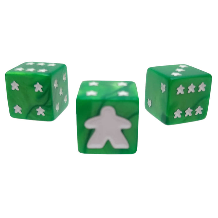 Meeple d6 Dice Set Green