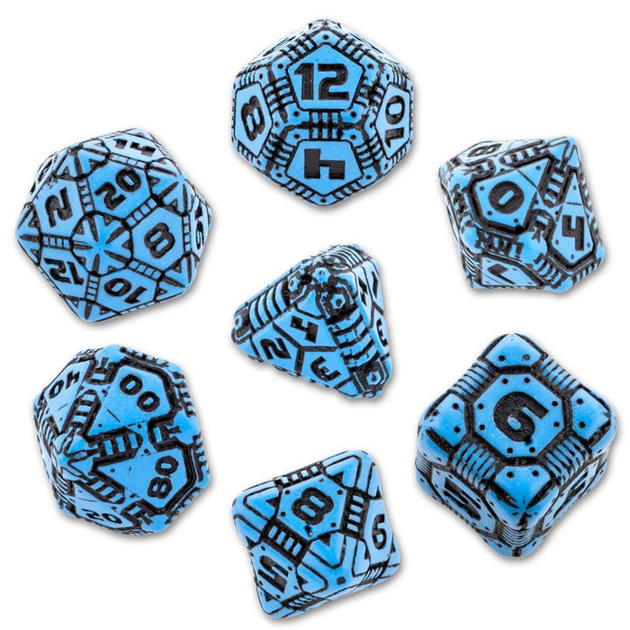 Q Workshop Tech Blue & Black Dice Set 7