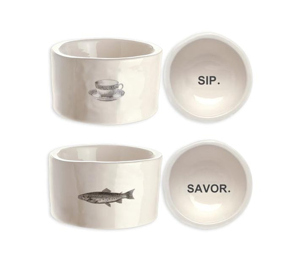 SIP + SAVOR Cat Bowls, Set of 2
