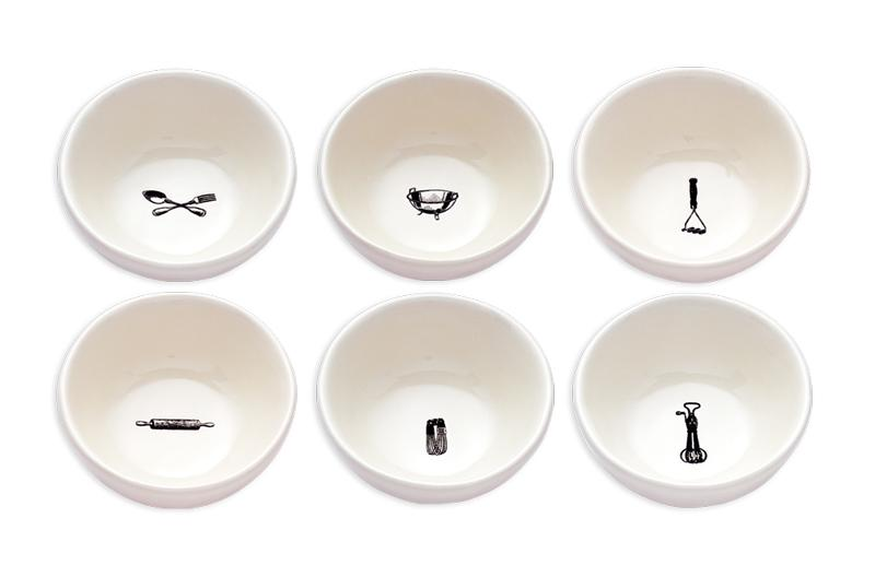 Kitchen Icon Bowls, Set of 6