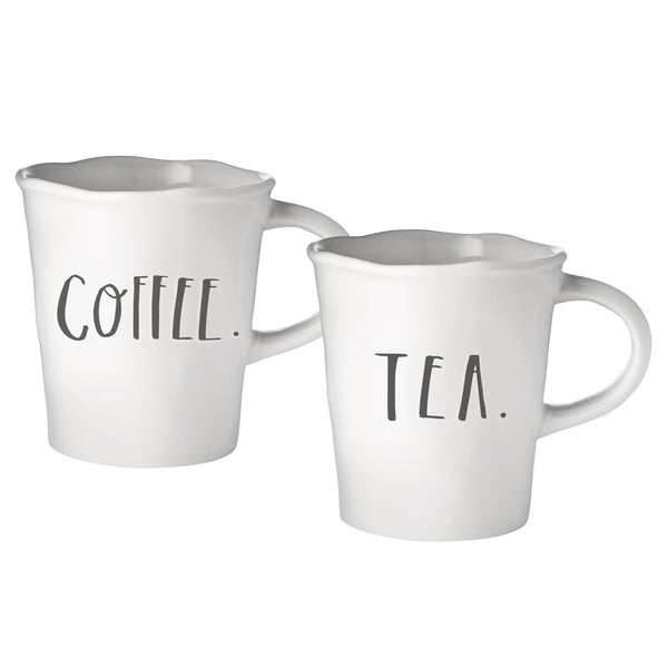 Stem Print Cafe Word Mugs, Set of 4