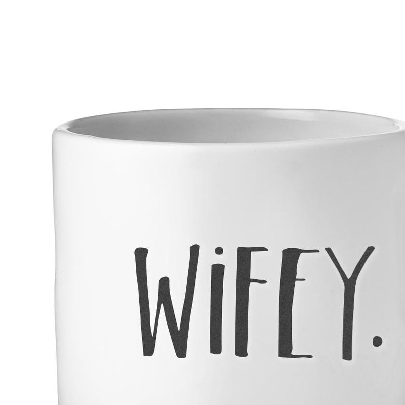 Stem Print WIFEY + HUBBY Mugs, Set of 2