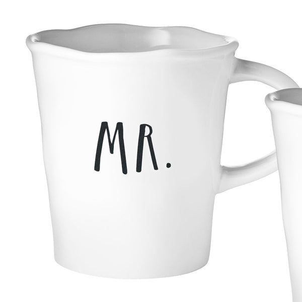 Stem Print MR + MRS Cafe Mugs, Set of 2