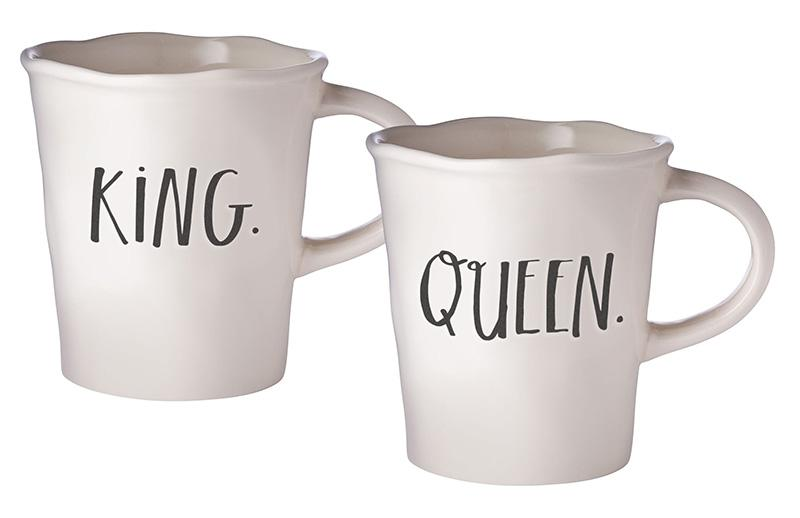 Stem Print KING + QUEEN Cafe Mugs, Set of 2