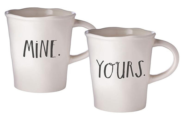 Stem Print MINE + YOURS Cafe Mugs, Set of 2