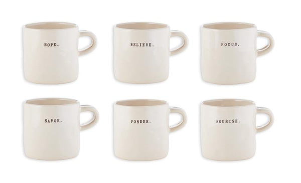 Zen Word Mugs, Set of 6