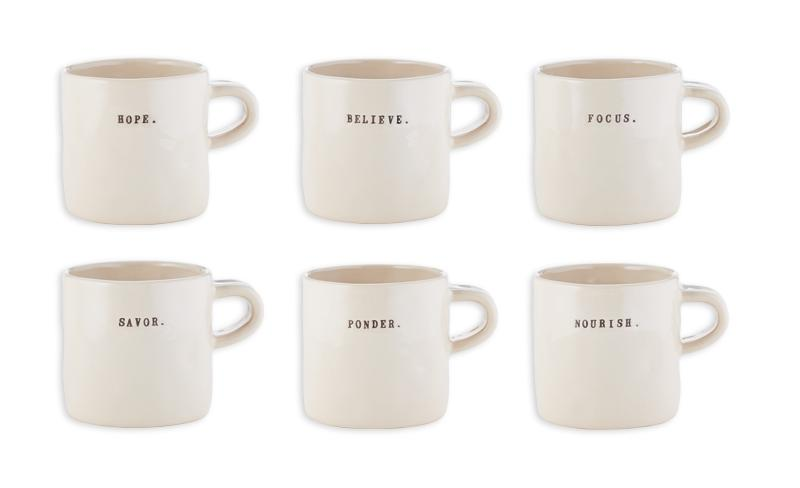 Zen Word Mugs (Set of 6)