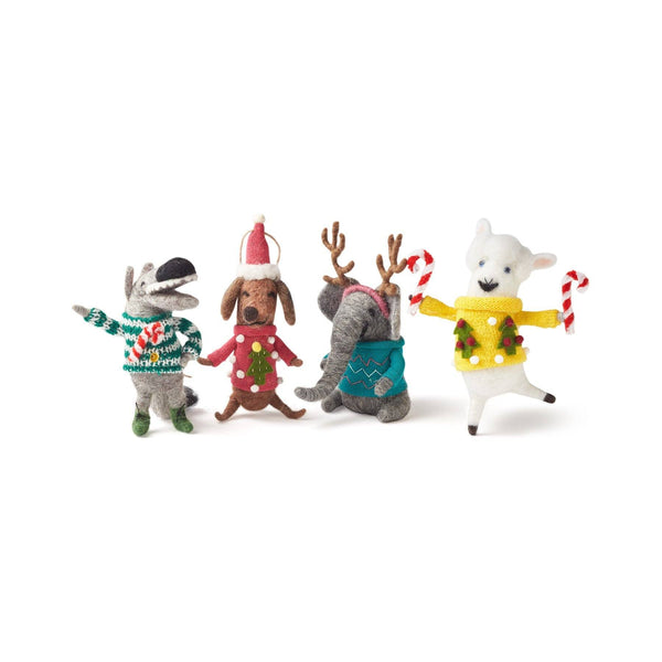 Ugly Sweater Party Felt Ornament, Set of 4