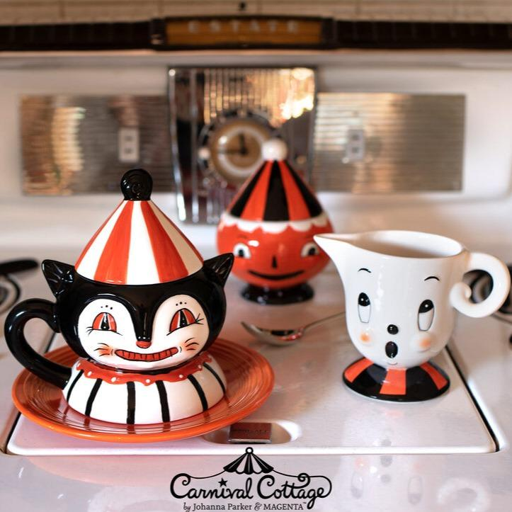 Carnival Cottage Ghost Creamer & Pumpkin Sugar Bowl