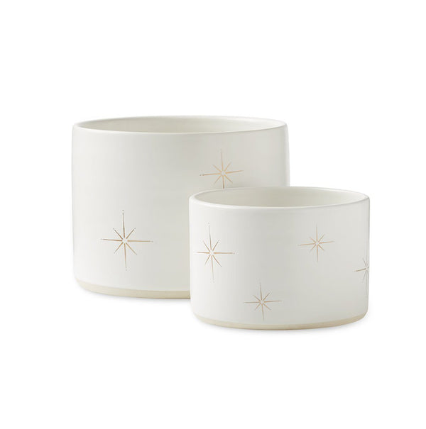 Palm Desert Planters in White, Set of 2