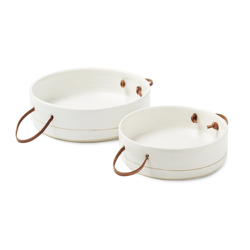 Palm Desert Tapas Trays in White with Gift Box, Set of 2