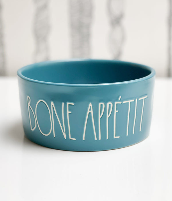 Rae Dunn Artisan BONE APPETIT Blue Pet Bowl,  6""