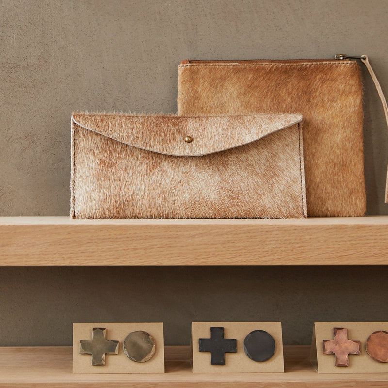 Kyoto Button Pouch - Brown