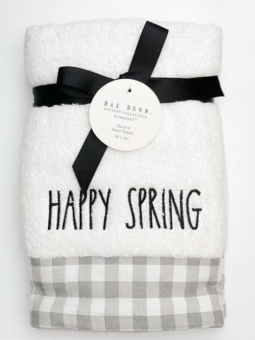 Rae Dunn Artisan Spring Hand Towel Bundle with Gingham Border, Set of 2