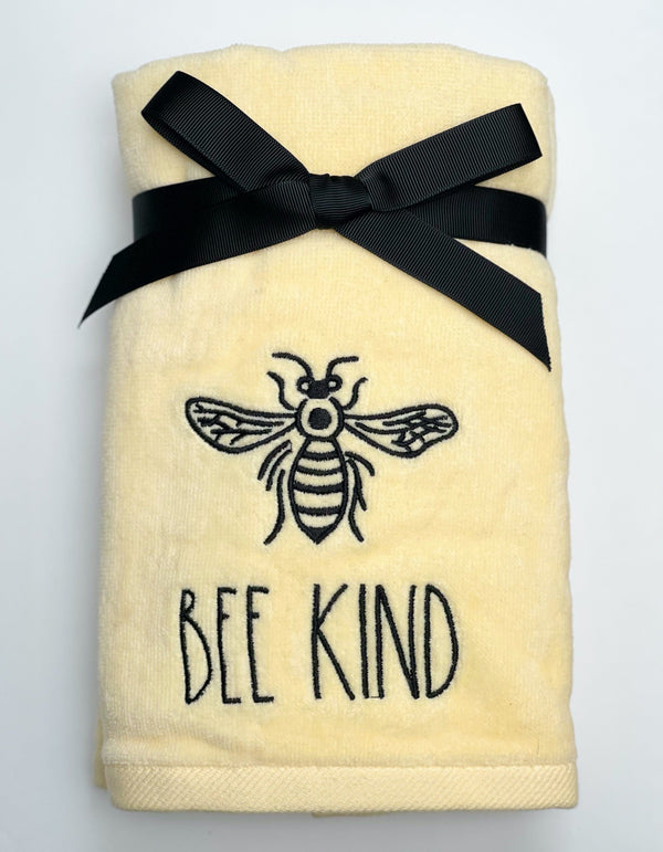 Rae Dunn Artisan Crown Bee BEE KIND Bundle - Yellow Hand Towel + Bowl with Lid