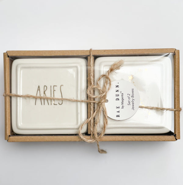 Rae Dunn Artisan ARIES Trinket Box Set