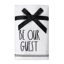 Rae Dunn Artisan BE OUR GUEST Velour Hand Towels, Set of 2