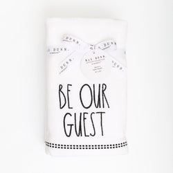 Rae Dunn Artisan BE OUR GUEST Velour Hand Towels, Set of 4