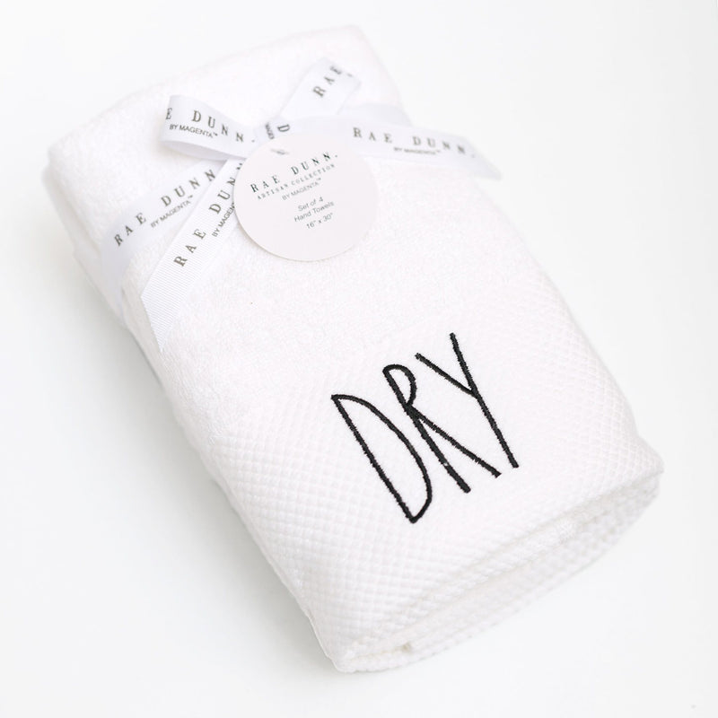 Rae Dunn Artisan DRY Pique Cuff Hand Towels, Set of 4
