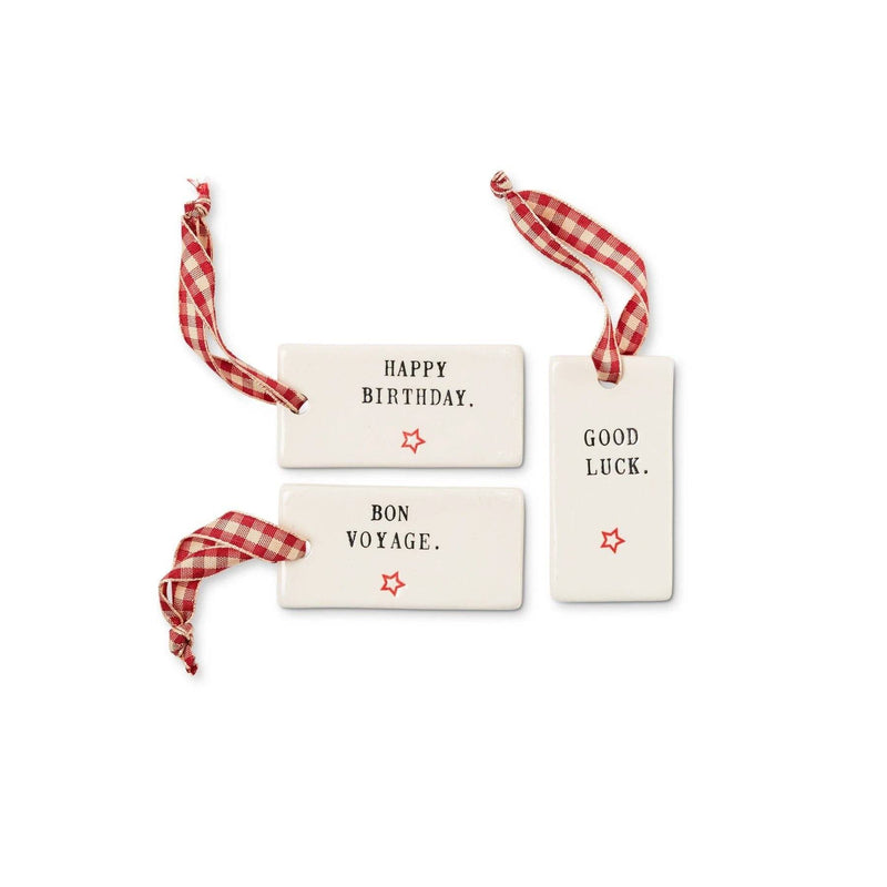 Classic Gift Tags, Set of 3: Bon Voyage, Happy Birthday, Good Luck