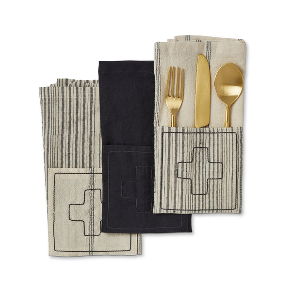 Icon Napkins with Stripes, Set of 4