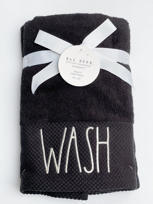Rae Dunn Artisan Black Velour Hand Towel Bundle, Set of 2