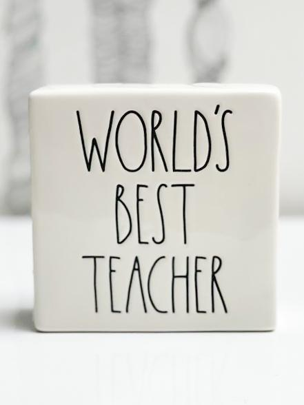 Rae Dunn Artisan WORLD'S BEST TEACHER Ceramic Desk Plaques