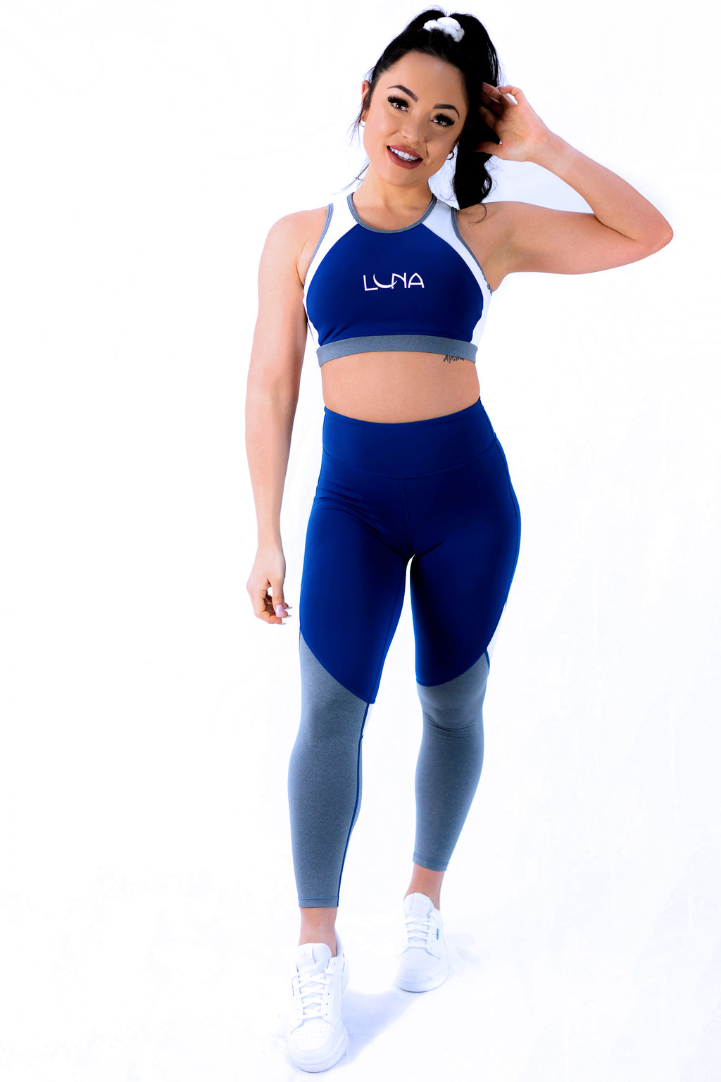 "Luna Active Wear Maternity Fit ""Over The Moon Tight"" Women - Royal Blue Grey & White"