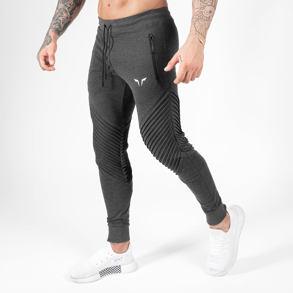 Squat Wolf Statement Ribbed Joggers - Grey - Workout Crew Athletic Online