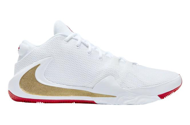 NIKE ZOOM FREAK 1 Giannis Antetokounmpo White Metallic Gold University Red