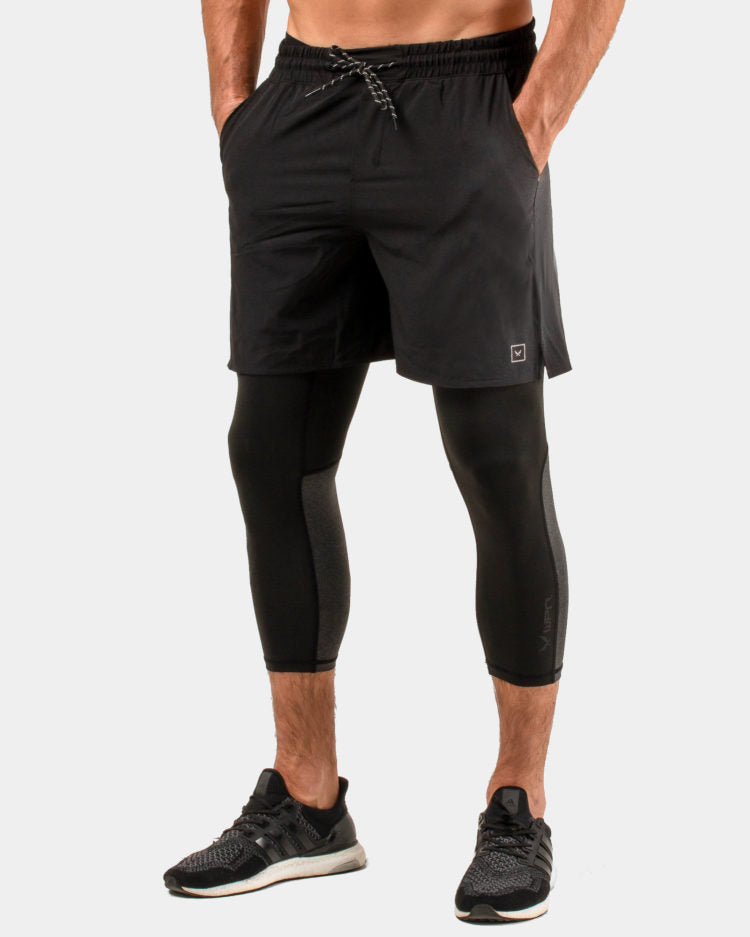 WPN. PACER Men's black 3/4 training compression tights