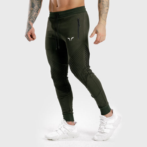 Squat Wolf Statement Ribbed Joggers - Olive