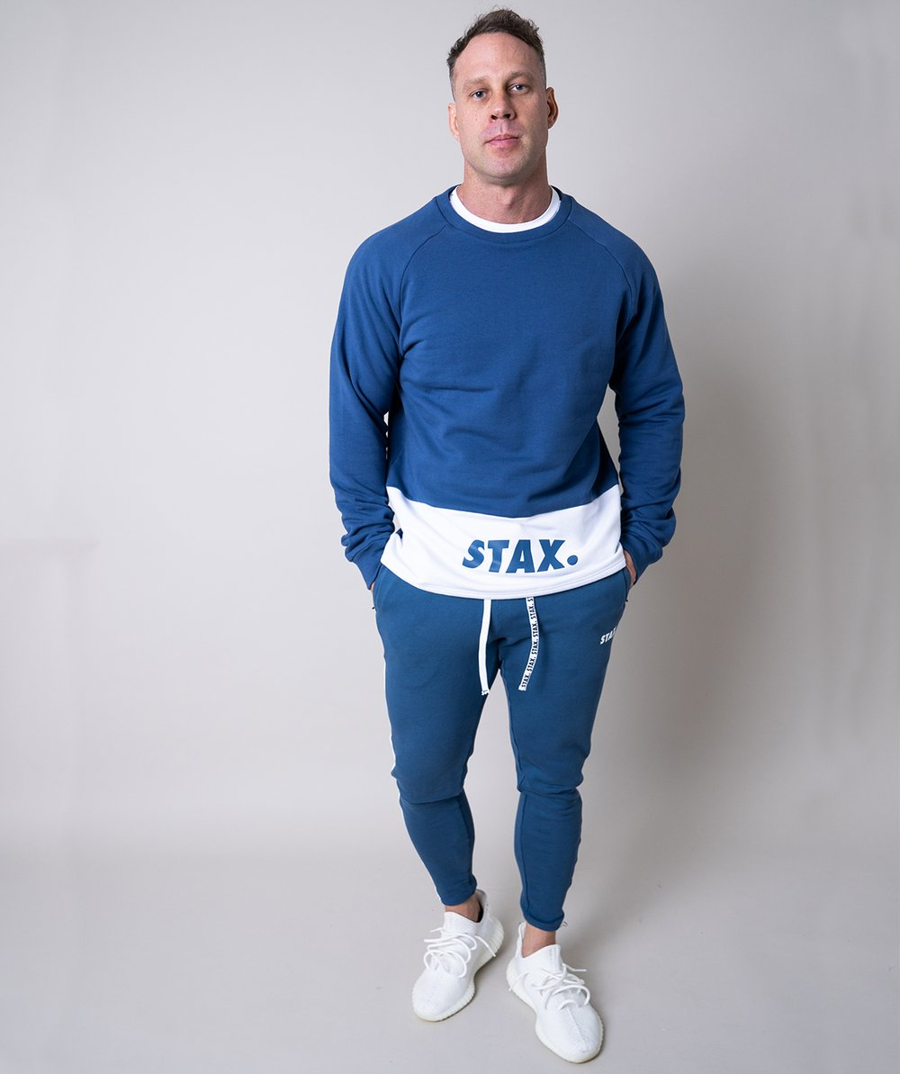 Stax. Mens Luxe Crew - Blue - Workout Crew Athletic Online