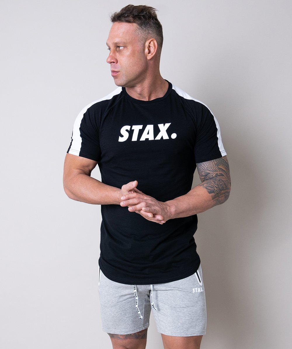 Stax. Mens Luxe Scoop Tee - Black - Workout Crew Athletic Online