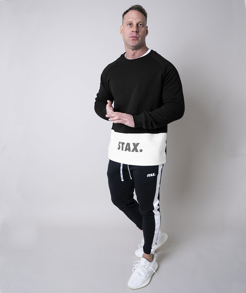 Stax. Mens Luxe Crew - Black - Workout Crew Athletic Online