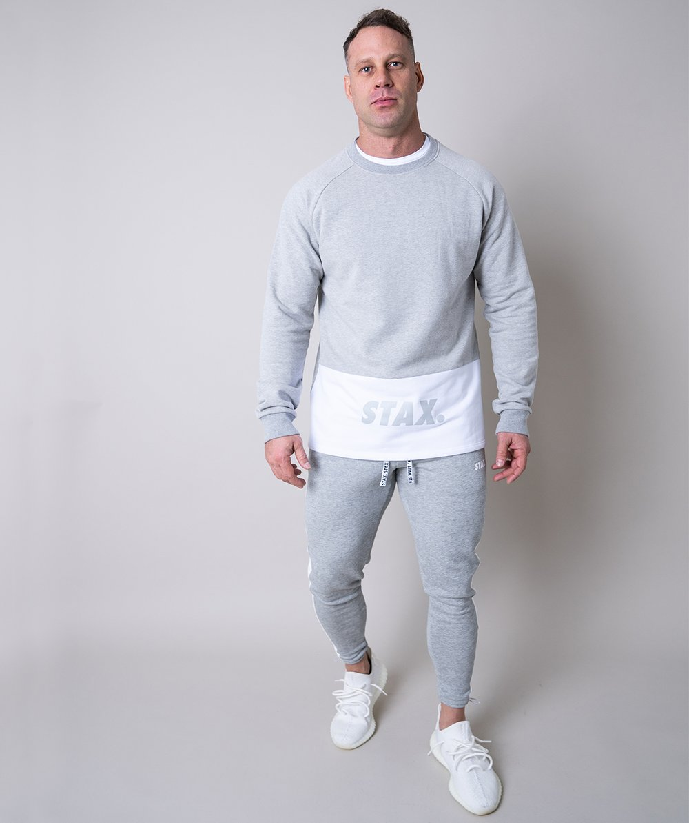 Stax. Mens Luxe Crew - Grey - Workout Crew Athletic Online