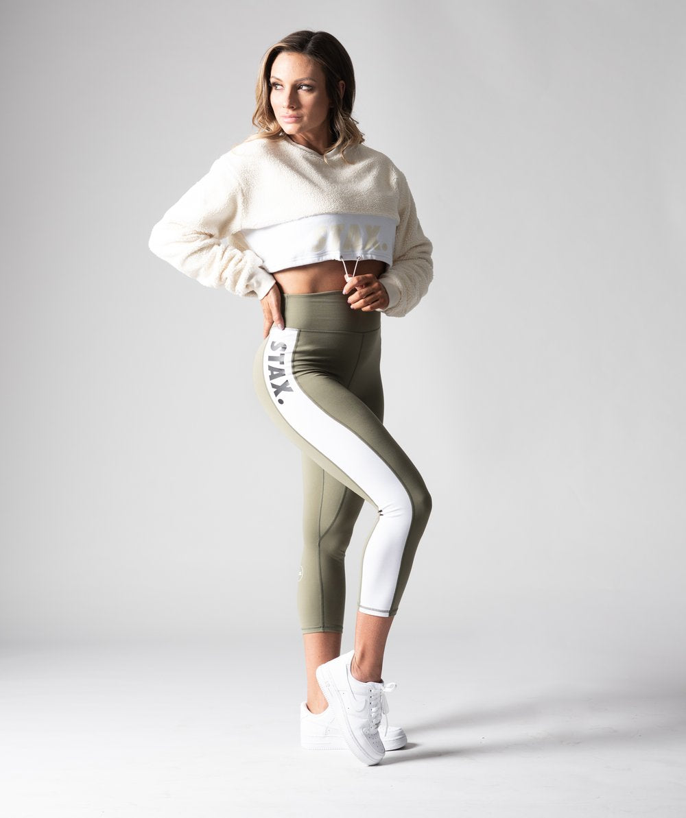 Stax. Luxe Wmns High Waist Tights - Olive - Workout Crew Athletic Online