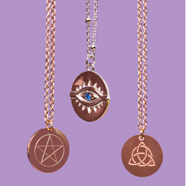 Blessed Be Magick - Pentacle, Evil Eye, Triquetra Protective Talisman Necklace