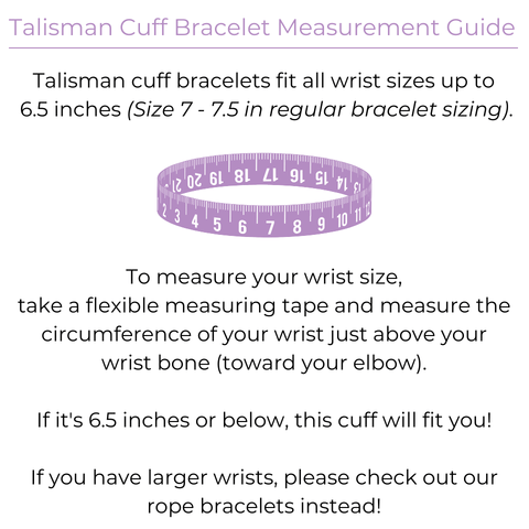 Blessed Be Magick Talisman Cuffs Size Chart