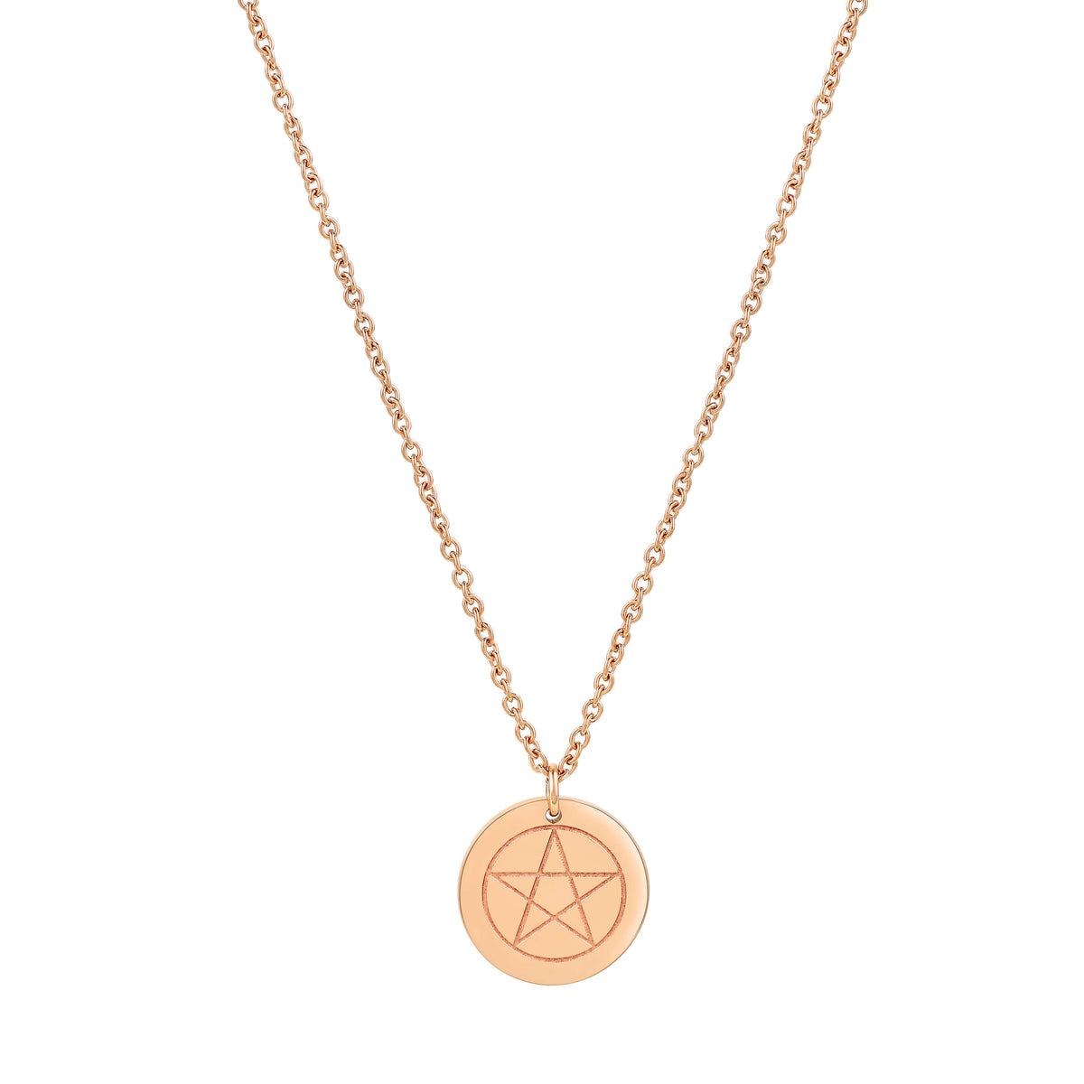 Pentacle Round Disc Necklace