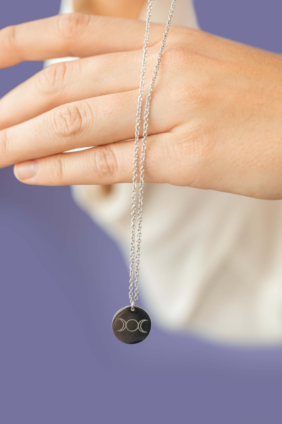 Triple Goddess Round Disc Necklace