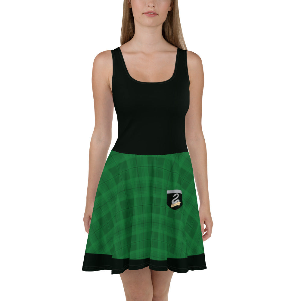 House of the Cunning Skater Dress (Black Top)