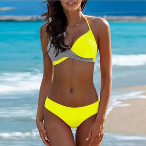 Yellow Colorblock Wrap Push Up Bikini Swimsuit Set