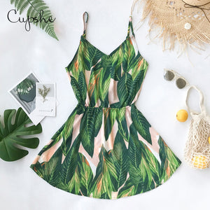CUPSHE Women Tropical Leaf Print V neck Mini Dress 2019 New Beach Summer Slim Straps Slip Sundresss Vestido