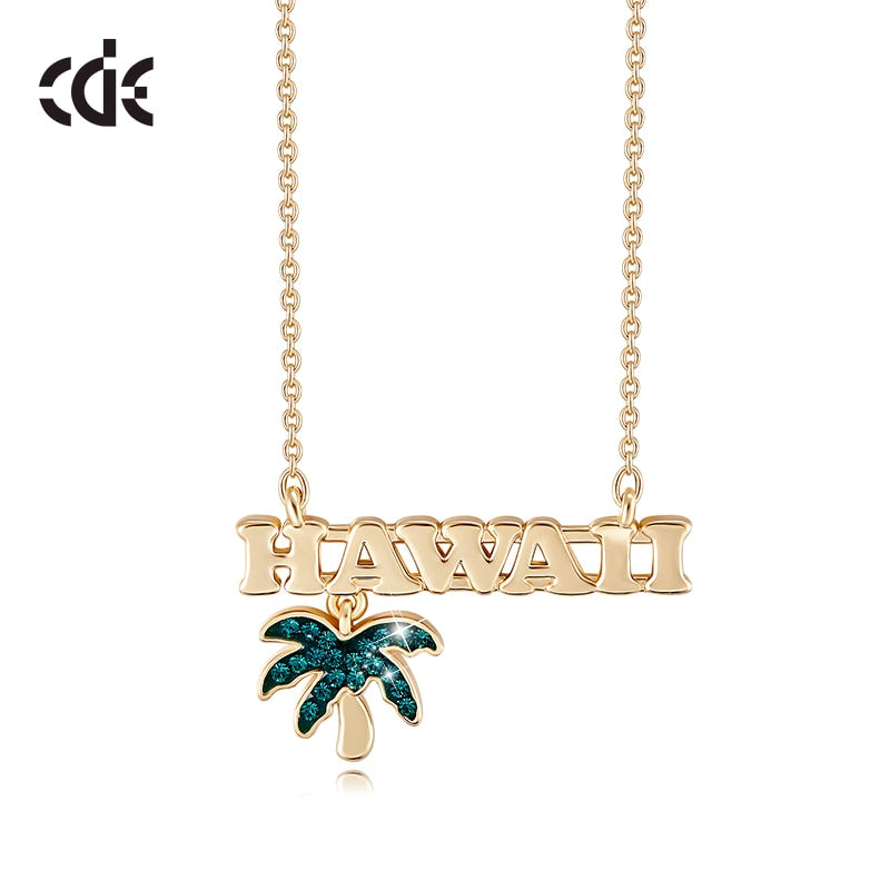 Hawaiian Palms Gold Necklace w/ Crystals
