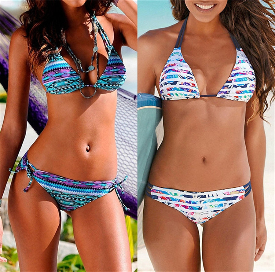 Beautiful Brazilian String Bikini Set with Colorful Stripe Patterns
