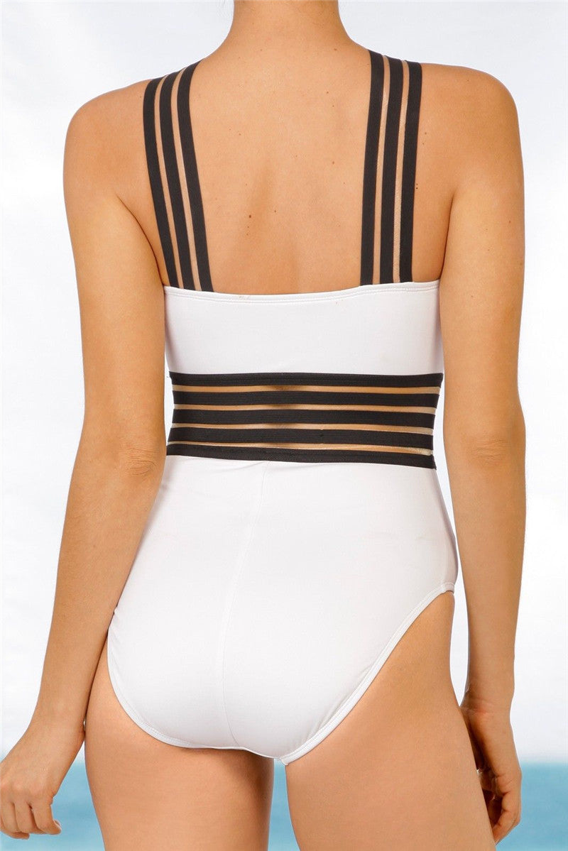 WHITE Monokini One Piece Swimwear with Crossback and Sexy Sporty Look.