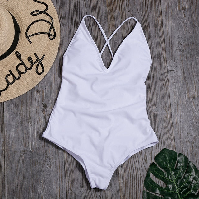 Women Solid Sexy Bandage One Piece Backless Swimsuit Female Bathing Suits Bodysuit Beach Wear New Swim Suit Monokini
