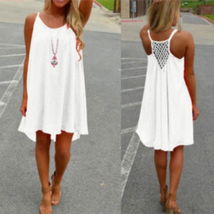 2018 New Plus Size 5XL White Black Dresss Womens Holiday Chiffon Summer Dress Boho Ladies Sundress Sleeveless Beach Dress