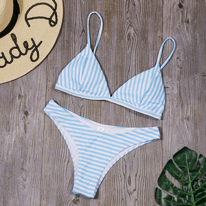 Light Blue Striped Sexy Triangle Bikini Swimsuit Set.